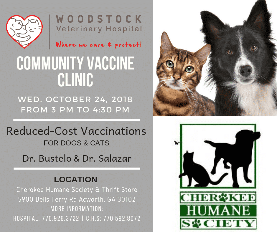Community Vaccine Clinic-Cherokee Humane Society @ Cherokee Humane Society   Acworth   Georgia   United States